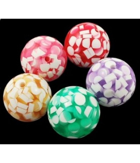 24mm Resin Round Bead with...