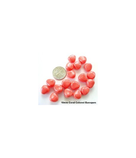 10mm Coral Colored Glass...
