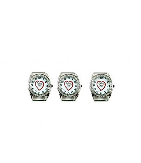 Round Ribbon Watch Faces with Rhinestones and Heart CD2