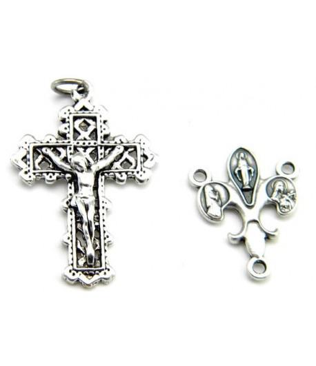 CXCB1 Crucifix with Fleur de Lis Rosary center
