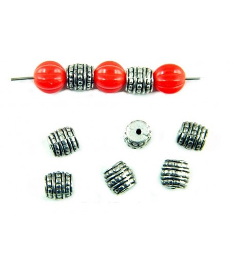 7mm  Metalized Barrel Beads...